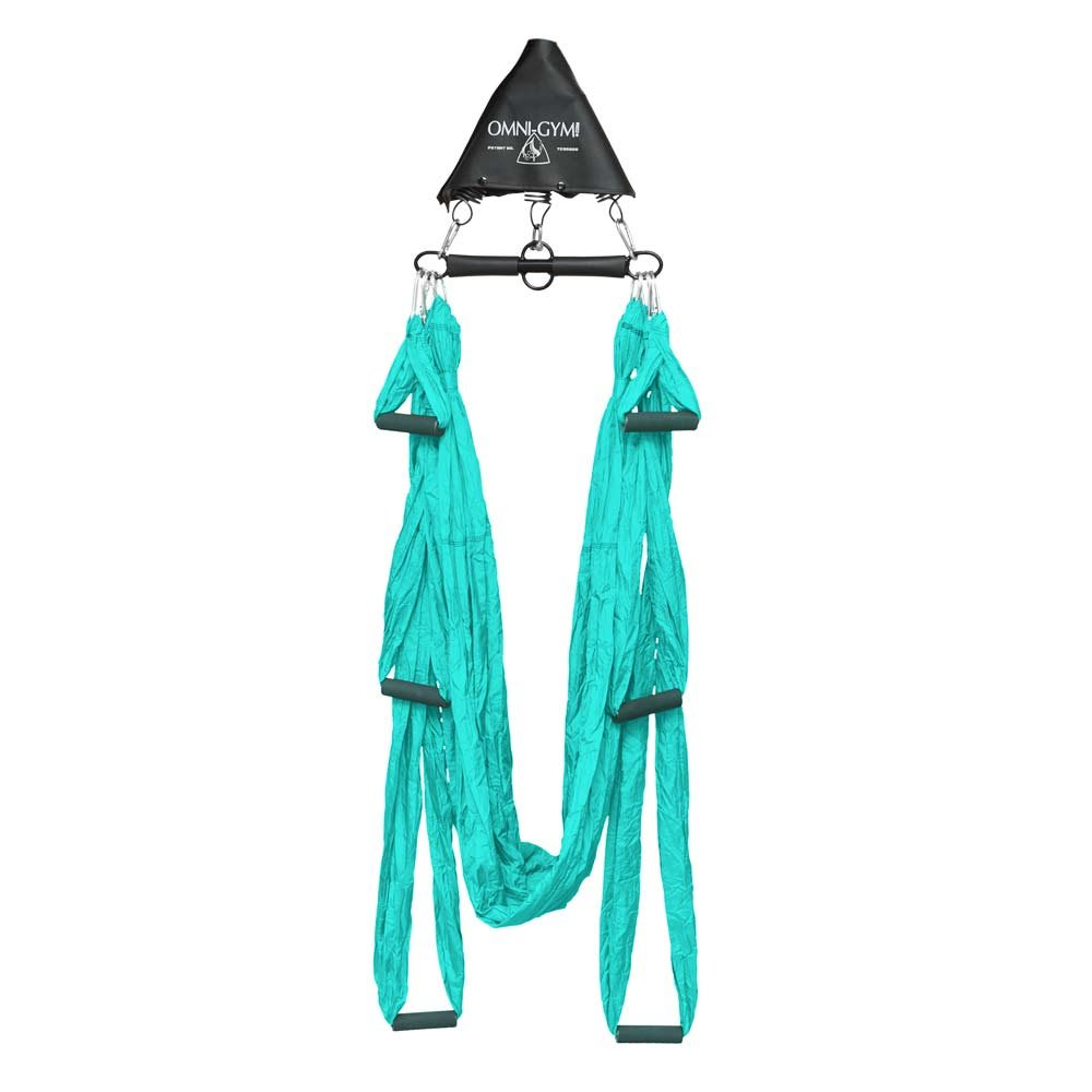 OMNI GYM Omni Yoga Swing Original Plus Spring Trapeze- Inversion Therapy, Yoga Practice, Aerial Fitness, Back Pain, Suspension Trainer (Turquoise)