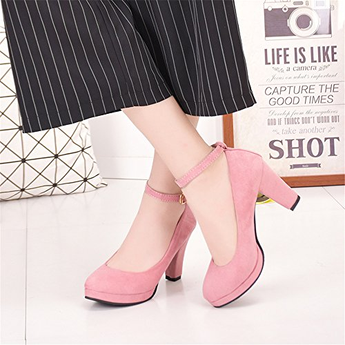 LIVY 2017 nuevos zapatos redondos salvajes de las mujeres con la correa del tobillo grueso zapatos de tacón alto zapatos de primavera de tamaño sub-grandes Rosado
