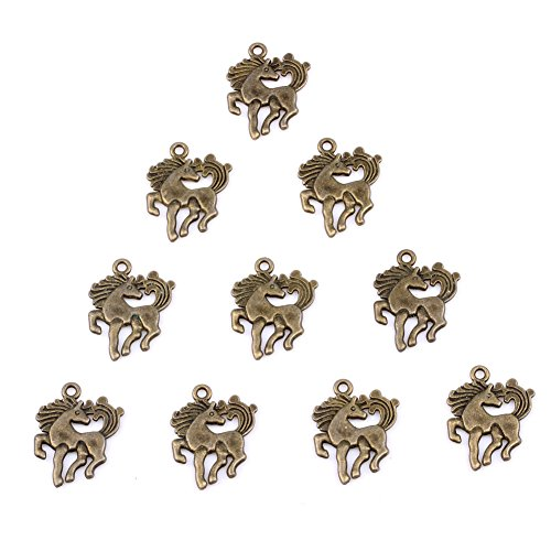 20 Pieces Magical Unicorn Horse Lucky Charms Findings for Jewelry Pendant Necklace Making 21 X 15mm (Unicorn Charms)