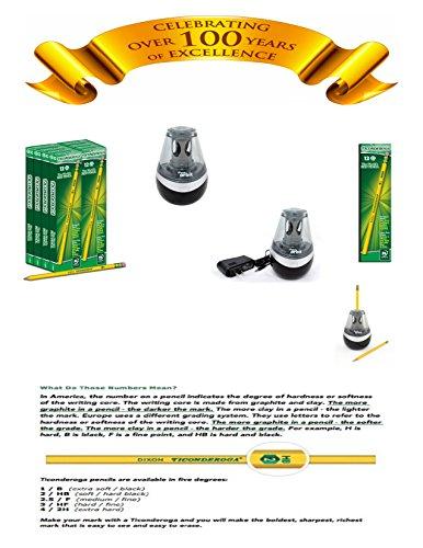 IHG Bundle - 2 Items: WESTCOTT iPoint Orbit Electric Pencil Sharpener, Black & Dixon TICONDEROGA The World's Best Pencil Wood-Cased #2 HB Pencils, Box of 96, Yellow, Bundle