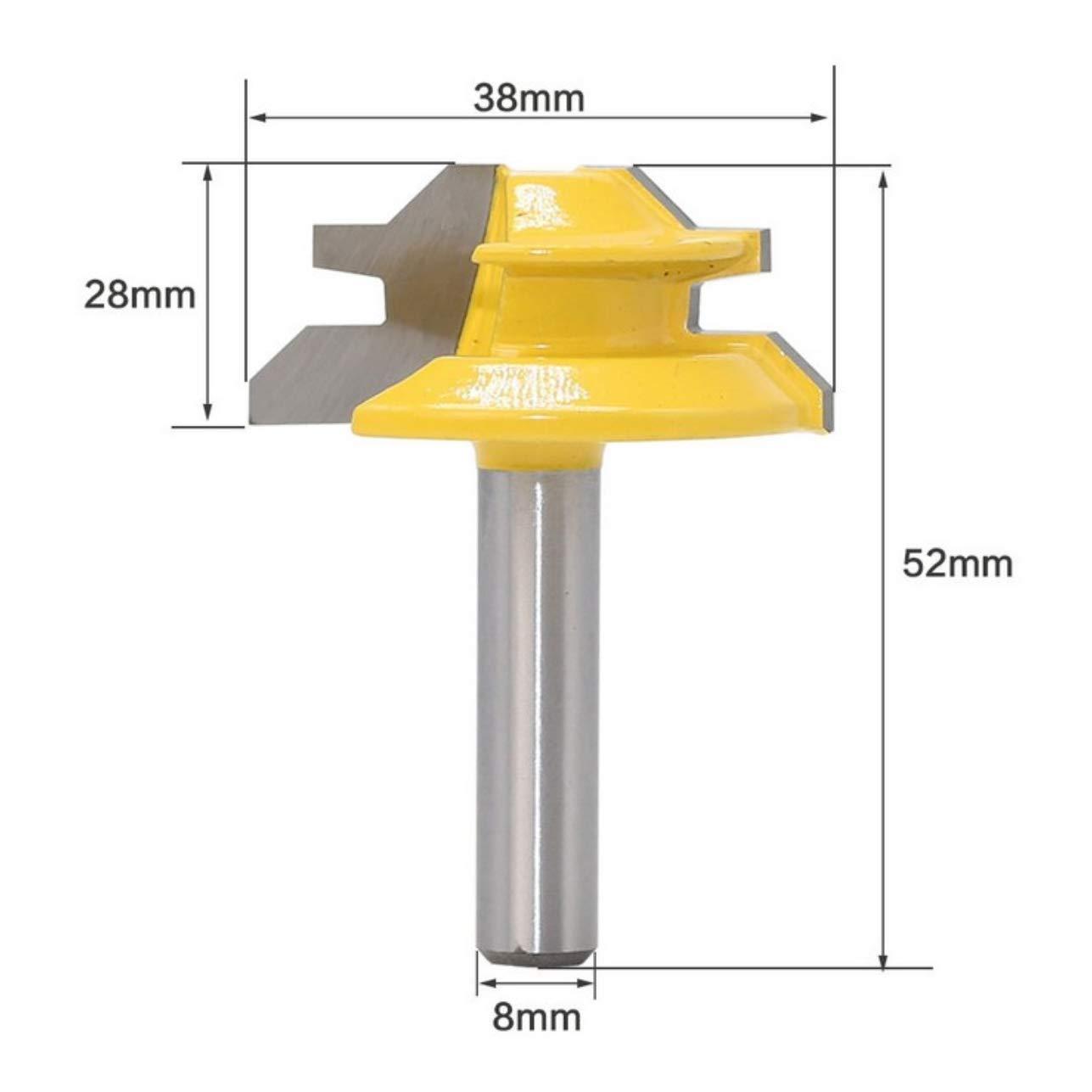 gelb Meccion 45/° Gehrungsfr/äser mit 8 mm Schaft Wolframcarbid Spitzen Fr/äser Professionelle Holzbearbeitungswerkzeuge