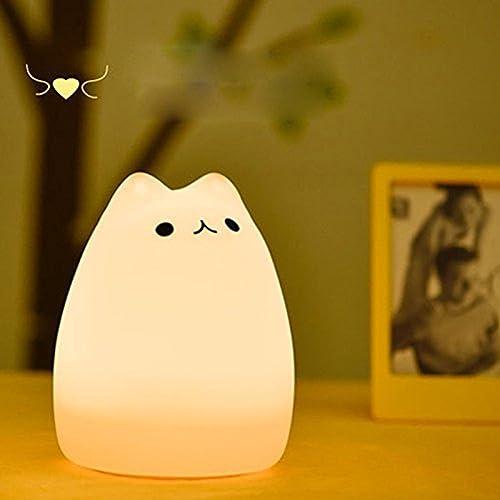 フィオナ2016 充電式テーブルランプ シリコーンベッドサイドランプ ウォームホワイト ナイトライト 多色変更LEDライト 雰囲気作り 二モード点灯 ギフト/おもちゃ/デコレーション  猫ちゃん (人気猫)