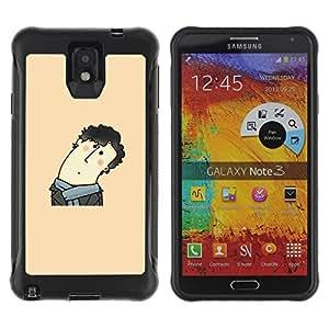 Pulsar Defender Series Tpu silicona Carcasa Funda Case para SAMSUNG Galaxy Note 3 III / N9000 / N9005 , Funny Curly Hair Man