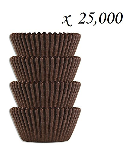 #4 Brown Glassine Paper Candy Cups - Chocolate Peanut Butter Baking Liners (25000) by SunAmerica