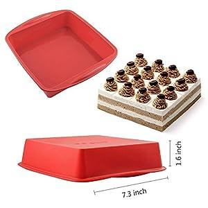 NonStick Square Cake Pan, IC ICLOVER 7 Inch Food Grade Silicone Square Baking Pan Bakeware Bread Cake Mold BPA Free - Red