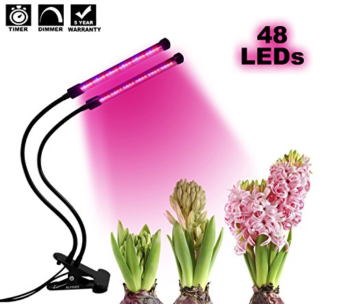 ALFERO 48 LEDs (2018 VERSION) | 3,6,12 HOUR TIMER & 4 DIMMABLE LEVELS | Dual Head LED Plant Grow Light | 360º Adjustable Gooseneck for Indoor Plants, Hydroponics, Gardening, Greenhouse