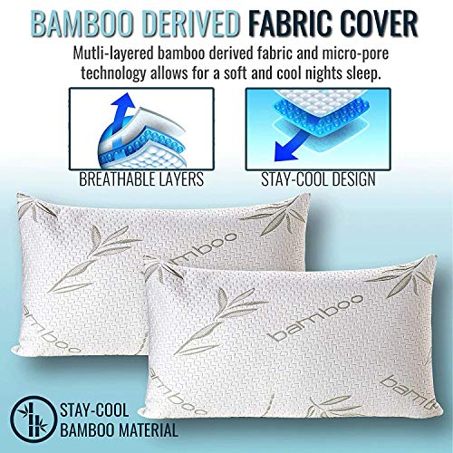 Bamboo Pillow - Shredded Memory Foam Pillow - Premium Pillows for Sleeping with Washable Pillow Case - Adjustable (2-Pack) (King)