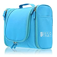 BTSKY® Hanging Toiletry Bag, Personal Organizer for Men & Women | Rugged & Water Resistant with Mesh Pockets & Sturdy Hook for Business or Leisure Travel (Light Blue)