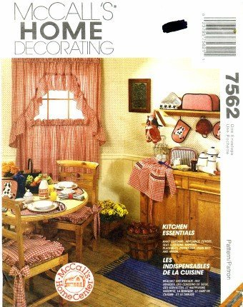 McCall's 7562 Sewing Pattern Curtains Apron Appliance Covers Pot Holder Oven Mitt