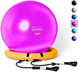 Exercise Ball Chair - 65cm & 75cm Yoga Fitness Pilates Ball & Stability Base for Home Gym & Office - Resistance Bands,...