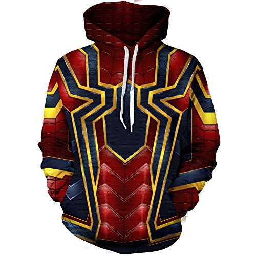 Riekinc Superhero Halloween Cosplay Costume Mens Hoodie Jacket Red and Gold