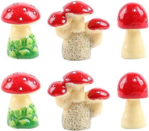 Yardwe Setas en Miniatura Setas de jardín de Hadas Mini Setas para decoración de casa de muñecas de jardín 6 Piezas 3 Estilos: Amazon.es: Jardín