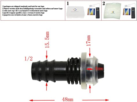 Riego jardín 12 mm a 16 mm Junta de goma gruesa tubo recto empalme para tubo de plástico empalmes para manguera de jardín 10 unidades: Amazon.es: Bricolaje y herramientas