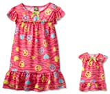 Dollie & Me Little Girls'  Peace Print Nightgown With Doll Outfit