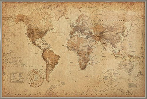 Antique Style Map Of The World - Framed Poster / Print