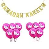 Desirca 1 Set Banner Glitter And Eid Balloon Festival Bunting Muslim Mubarak Decoration Ramadan Supplies Rose Moon Rk