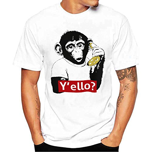 Xlala Men Tees Monkey Banana Pattern Letter Printing Shirt Round Neck Solid Color Short Sleeve Simple Basis T Shirt Blouse Novelty Clothing (L)