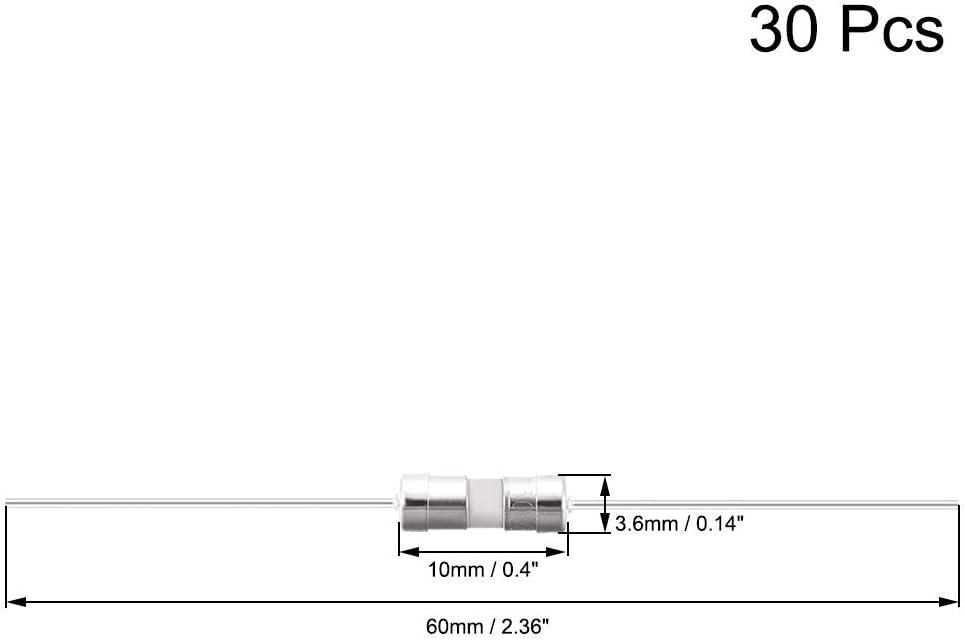 Slow Blow Fuse Time Delay Ceramic axial fuses 3.6mm X 10mm 250V T3.15A 30Pcs