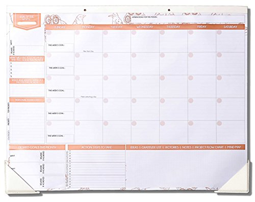"Deluxe Rose Gold Monthly Wall and Desk Pad Calendar - Over 12 Months of Advance Planning and Productivity | Undated - Sheet Size: 22""x17"" by Freedom Mastery"