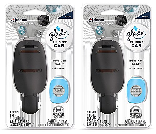 Glade Plugins Car Starter Kit - New Car Feel - Starter Kit Contains: 1 Device & 1 Refill - Pack of 2 Starter (Glade Car)