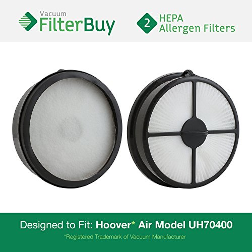 2 - Hoover WindTunnel Air Model UH70400 HEPA Vacuum Filters. Designed by FilterBuy to replace Hoover Part # 303902001.