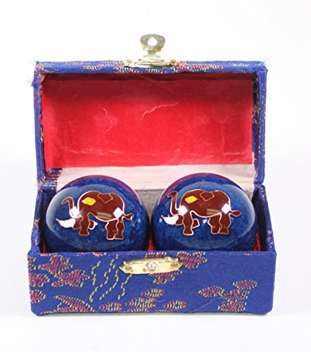 Blue Elephant Cloisonne Iron Balls Hand Stress Relief Set EXERCISE Finger Health Therapy US Seller