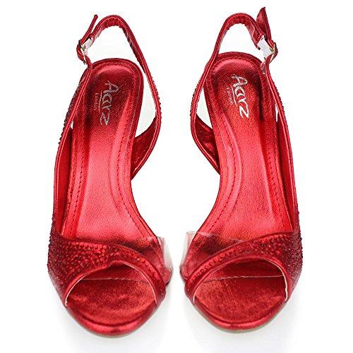 Aarz señoras de las mujeres de la tarde Banquete de boda del alto talón del dedo del pie abierto de las sandalias de novia Diamante tamaño de los zapatos (Oro, Plata, Champán, Rojo, Negro) Rojo