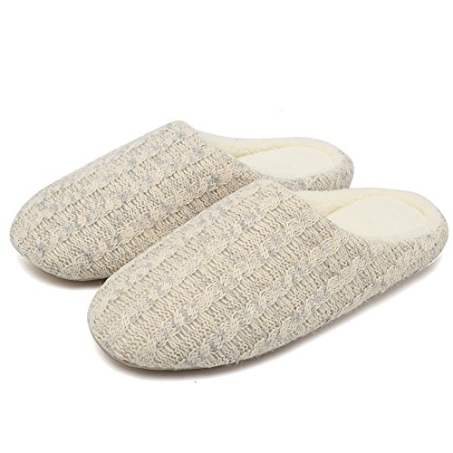 Slippers Women's Men's House Beige Warm Knitted Indoor Anti Winter Shoes CIOR Breathable Cotton Cashmere and Slip dAIwxcIqES