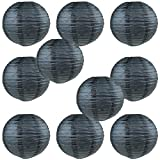 "WYZworks Round Paper Lanterns 10 Pack (Black, 8"") - with 8"", 10"", 12"", 14"", 16"" option"
