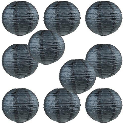 WYZworks Round Paper Lanterns 10 Pack (Black, 8