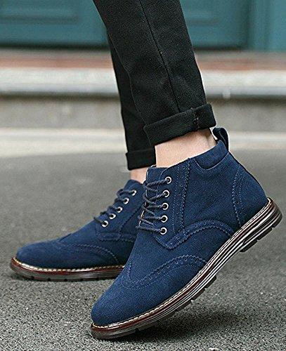 Zapatos para hombres Zapatillas deportivas de cuero con cordones de gamuza Botines Martin con cordones Derby con cordones Marrón, Verde, Azul (Talla 39 a ...
