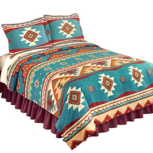 Collections Etc Southwest Cheyenne Aztec Native American Turquoise Fleece Lightweight Coverlet, Antique Brown, King