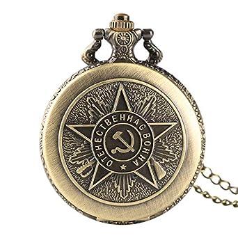 Reloj de Bolsillo Retro Bronce Cuarzo Soviético CCCP Rusia Emblema ...