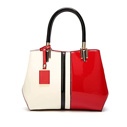 2d63c978244d Amazon.com: Sunmiao Large-Capacity Patent Leather Contrast Bag ...