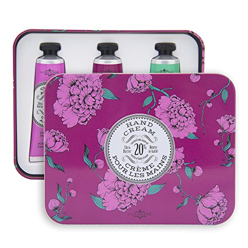 La Chatelaine 20% Shea Butter Hand Cream Eggplant Tin Gift Set, Cherry Almond, Wild Fig, Winter Flower
