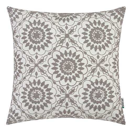 HWY 50 Grey Embroidered Decorative Throw Pillow Covers Cushion Cases for Couch Sofa Living Room Gray Little Sunflower Farmhouse Floral Cozy 18x18 inch, 1 Piece (Pier 10 One)