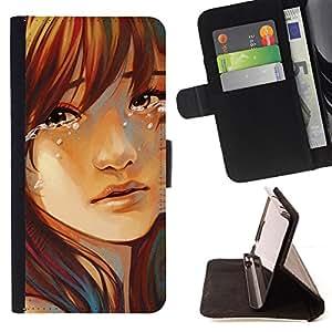 BullDog Case - FOR/Samsung Galaxy S5 V SM-G900 / - / Sad Girl /- Monedero de cuero de la PU Llevar cubierta de la caja con el ID Credit Card Slots Flip funda de cuer