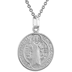 Sterling Silver St Benedict Medal Necklace 13 16 Inch Round Italy