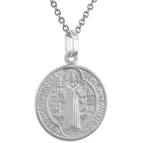 Sterling Silver Benedict Medal Necklace