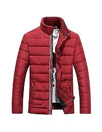 Ellove Stand Collar Thickened Men's Coat Puffer Jacket Short Zipper Overcoat