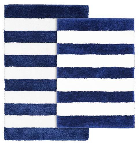 Garland Rug BA300W2P04T9 Beach Stripe Bath Rug Set 2-Piece, Indigo Blue/White (Beach Bath Rugs Set)