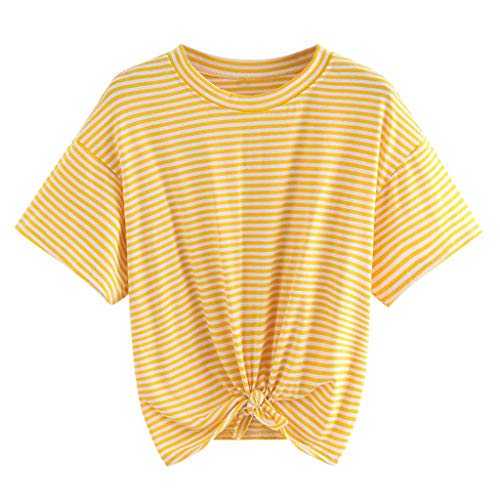 NCCIYAZ Womens T-Shirt Crop Top Ladies Striped Short Sleeve Casual Short Knoted Blouse(2XL(12),Yellow)