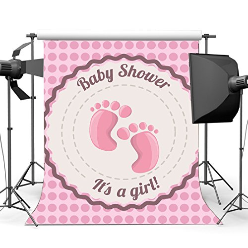 Gladbuy Vinyl 5X7FT Sweet Baby Shower Backdrop It's a Girl Cute Footprints Pink Dots Backdrops 1st Birthday Party Photography Background for New Mom to be Pregnant Woman Photo Studio Props KX490