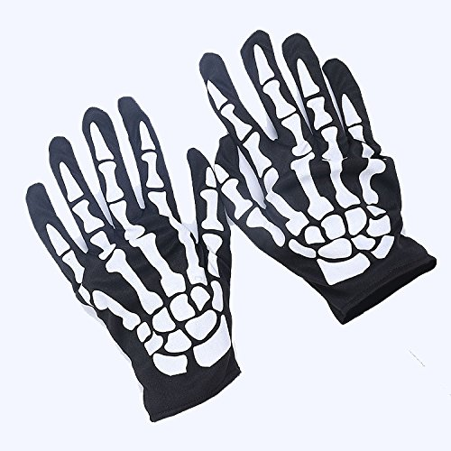 Skeleton Gloves for Adult Halloween Dance Party Costume Gloves by Leadpo, Pair of 1