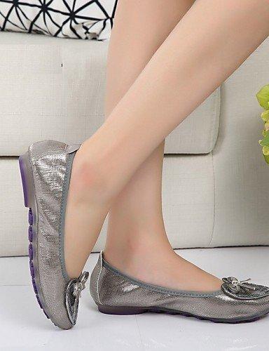 us9 mujer eu41 cn42 plano Oro uk7 carrera Plata zapatos talón sintética Flats 8 oficina de y de 5 10 piel PDX 5 golden vestido comodidad casual tUq1x