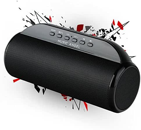 MUSIC ANGEL Ultra Portable Wireless Bluetooth Speaker : Louder V Up to 12W+, Super Bass, Highly Portable, Perfect Speaker for Beach, Kitchen & Home (Black)