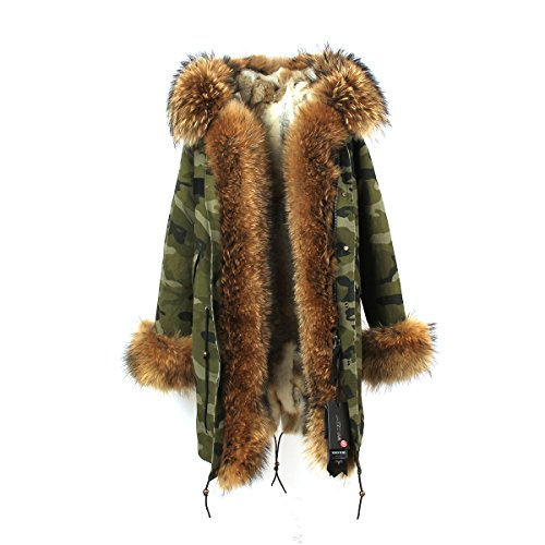 Melody Women's Winter Real Raccoon Fur Collar Hooded Coat Rabbit Fur Lined Parka Long Jacket (3X-Large, Camouflage - Natural + White)