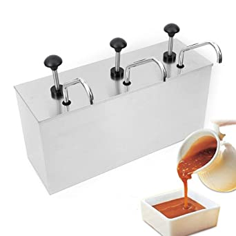 Condiment Pump with Single Bucket Condiment Pump Dispenser 4L Stainless Steel Sauce Pump Dispenser for Restaurant Ketchup Salad Jam Sauce Squeeze