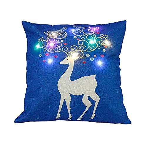 Funda de cojín para cojín con luz LED, diseño de Navidad ...