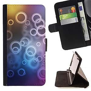 BullDog Case - FOR/Samsung Galaxy S5 Mini, SM-G800 / - / Neon Bubble Circle Pattern /- Monedero de cuero de la PU Llevar cubierta de la caja con el ID Credit Card Slots Flip funda de cuer